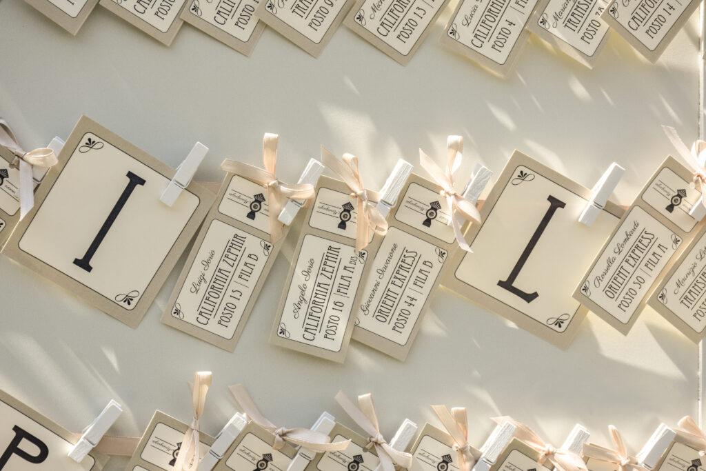 Escort cards per matrimonio al museo di Pietrarsa