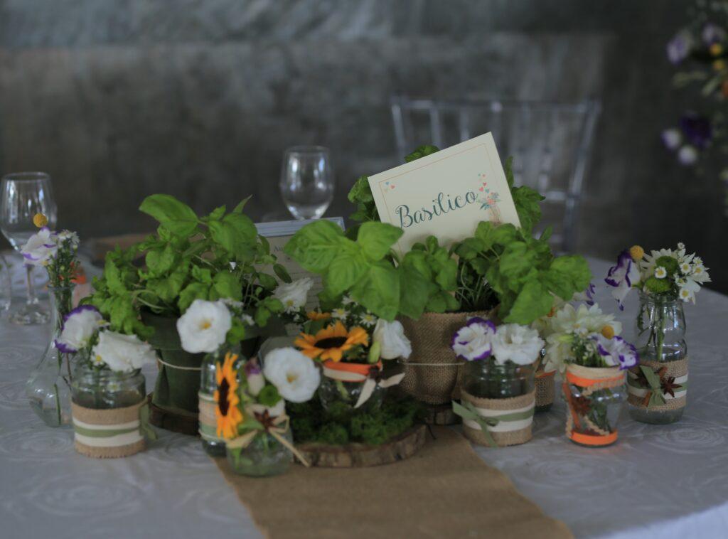 centrotavola erbe aromatiche natural style