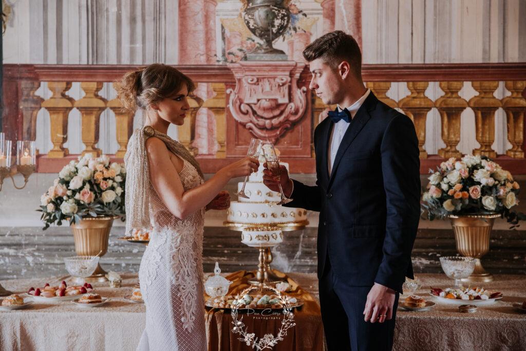 matrimonio in villa barocca : il brindisi